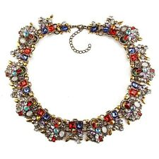 BEAUTIFUL ZARA RED WHITE BLUE STONES COLLAR STATEMENT NECKLACE – NEW