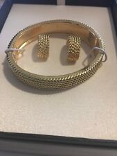 Goldtone Snap Lock Cuff Bracelet with Bead Texture Design-New