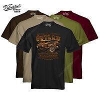 Velocitee Mens T-Shirt The Outlaw Garage Hot Rat Rod Rockabilly W15095