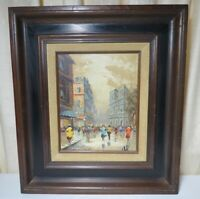 "Vintage New York City Street Scene Signed Oil Painting - 17 1/4"" x 15 1/4"""
