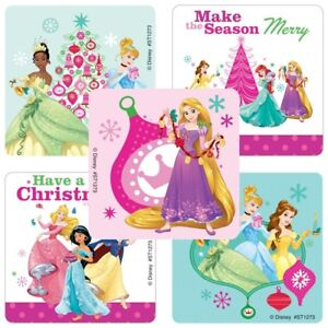 20 Disney Princess Christmas STICKERS Party Favors Supplies Treat Loot Bags