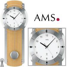 AMS Reloj de pared 5245/18 Radio con péndulo haya para salón