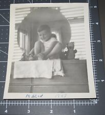 Boy Plays w/ TOES Foot Little Piggy Game Mirror Reflection Vtg Snapshot PHOTO