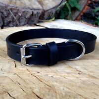 NEW HAND-CRAFTED BLACK SOFT LEATHER DOG COLLAR TRAINING LABRADOR STRONG LARGE