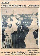 "CAEN "" CENTENAIRE UNIVERSITE "" A. LEBRUN MLLE LEBAILLY LISIEUX ILLUSTRATION 1932"