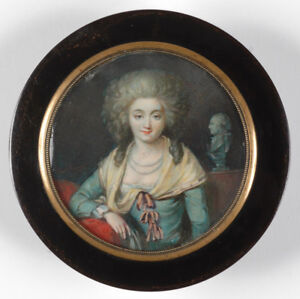 Box with Portrait Miniature by P. A. Hall-Follower, 19th Century