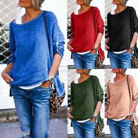 Women's Plus Size Cotton Linen Long Sleeve O-neck Pullover Autumn Tops Shirt