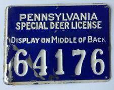 1928 Metal Pennsylvania Hunting Special Deer License #64176 PGC Game Commission