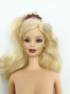 Holiday Barbie Mackie Face Rooted Lashes Blonde Burgundy Red Lips Nude