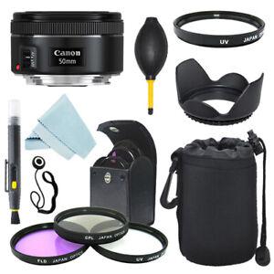 Canon EF 50mm f/1.8 STM Lens + Lens Hood + Filter Kit + Case + Accessory Kit