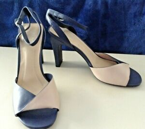 M&S Insolia Navy/Nude Oblong Cone Heel Leather Sandals UK Size 7.5 BNWOB