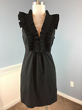 BCBG Maxazria S Black Ruffle Career Cocktail Dress Excellent Flare