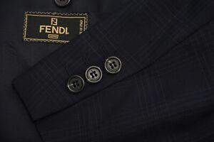 Fendi Navy Blue Plaid S100s 100% Wool 2 Pc Suit Jacket Pants Sz 42L Made Italy