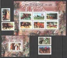 QQ537 GAMBIA FAUNA FARM ANIMALS HORSES IN ART PAINTINGS 1SET+1KB+1BL mnh