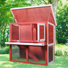 "Red Wooden Chicken Coop Hen House 36"" Rabbit Wood Hutch Poultry Cage Habitat"