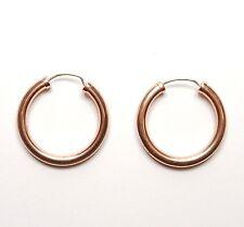 9 Carat Rose Gold PLAIN HOLLOW ROUND HOOP EARRINGS 2g 25mm Diameter