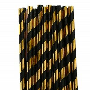 """Gold And Black Striped Paper Straws 8"""" (20cm) Biodegradable Compostable 6mm"""
