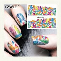 Nail Art Water Decals Transfers Stickers Wraps Rainbow Feathers Gel Polish 8123