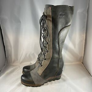 Womens Sorel CATE THE GREAT Wedge Tall Charcoal Leather Boots - Size 7 - Amazing