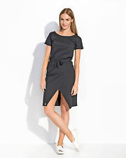 Womens Mini Wrap Dress Short Sleeve Scoop Neck Casual Tunic Sizes 8-14 FA493
