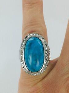 Genuine 10 CT Kingman Turquoise & Natural White Zircon Silver Ring Size 4.75  #1