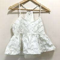 SEED HERITAGE White Crop Swing Top - Size 10 - Embroided Pattern - AUS SELLER