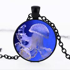 Jellyfish Black/Bronze/Tibet silver glass dome chain Pendant Necklace*