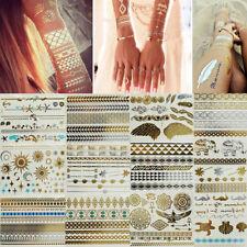 Metallic Gold Silver Flash Tattoos Holographic Henna Mehndi Indian Boho Aztec