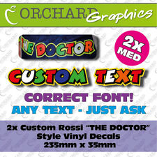 """2x Custom Vinyl Decal Stickers Rossi Style """"The Doctor"""" 46 Your Name Graphics MD"""