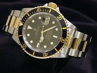 Rolex Submariner Mens 18k Yellow Gold Stainless Steel Watch Black Sub Date 16613