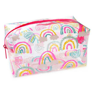 Large Clear Rainbow Kids Girls Pink Womans School Pencil Case Make Up Travel Bag