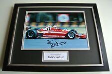 Jody Scheckter SIGNED FRAMED Photo Autograph 16x12 display Formula 1 Racing COA