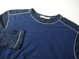 Agave Mens T-Shirt M Long Sleeve Navy Blue Tee Crewneck Baseball