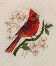 Red Cardinal Bird Embroidered White Kitchen Waff 00006000 le Weave Terry Dish Hand Towel