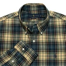 Ralph Lauren Shirt Tartan Plaid XL Custom Fit Oxford Pony Logo