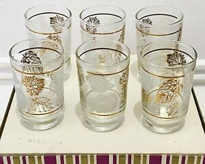 VINTAGE Art Glass Tumblers 1960s CROWN AUS Gold Trim & Leaf, Set Of 6 NEW IN BOX