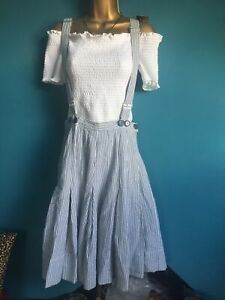 Stripey Cotton Braces Skirt Size 10