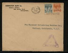 Straits Settlements   censor cover to  US    1940             KL0522