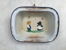 Vintage White Enamel Blue Trim Rectangular Bowl Enamelware HAND PAINTED COUNTRY