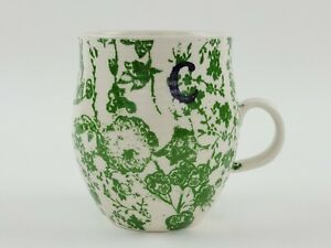 """Anthropologie Homegrown Letter """"C"""" Monogram Initial Green Floral Coffee Mug Cup"""