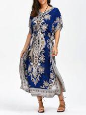 Women Long Kaftan Caftan Maxi Dress Blue African Night Gown Hippie Royal Blue