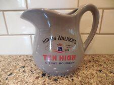 Hiram Walker's Ten High Bourbon Ceramic Water Pitcher Pub Jug Barware USA