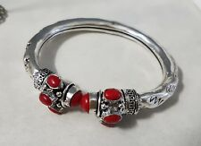 Sterling Silver Overlaid Red Coral Adjustable Cuff Bracelet