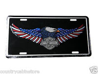 Harley Davidson PATRIOTIC EAGLE Wings Metal Embossed Car Auto License Plate 6X12