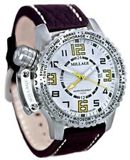 Millage Moscow Collection WHT/YLW dial with brown genuine buffalo leather strap