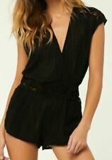 O'Neill SALT WATER SOLIDS Womens Wrap Front Sleeveless Romper Small Black NEW