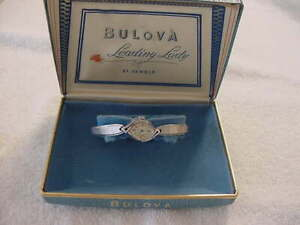Vintage GOLD FD antique Art Deco 21 JEWELS lady BULOVA ASYMMETRIC watch + Box