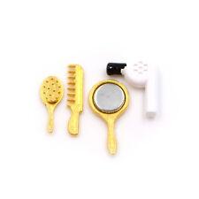1/12 Dollhouse Miniature Bathroom Accessory Comb Hair Dryer Mirror 4pcs Set BS