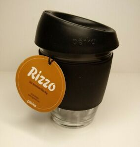 PERKA Rizzo Borosilicate Glass Travel Cup Coffee Tea Mug Black Silicone Lid 12oz