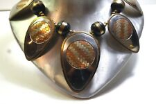 VINTAGE BRUTALIST MIXED METAL SILVER TONE BRASS COPPER NECKLACE